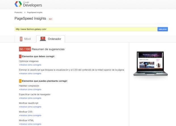 SEO Velocidad de carga PageSpeed